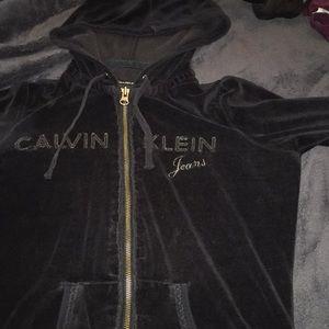 CALVIN KLIEN black zip-up jacket